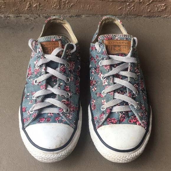 Girls Converse Chuck Taylor Flower Shoes Size 3